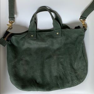 Clare V messenger bag. Green suede, signs of wear